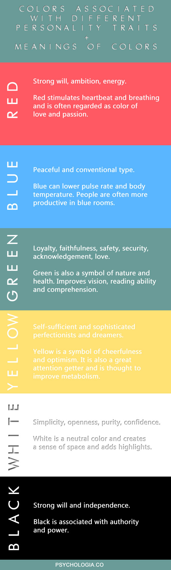 infographic: personality colors and meaning of colors | psychologia