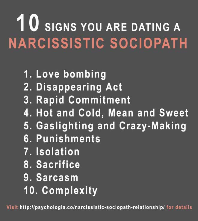 Dating a Narcissistic Sociopath or a Narcissist: 10 Signs
